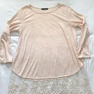 Papermoon heathered peach lace  top